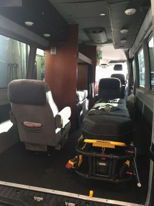From the rear of the medical transport